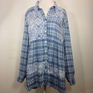 Style & Co. Women's Mixed-Print Roll-Tab Blouse